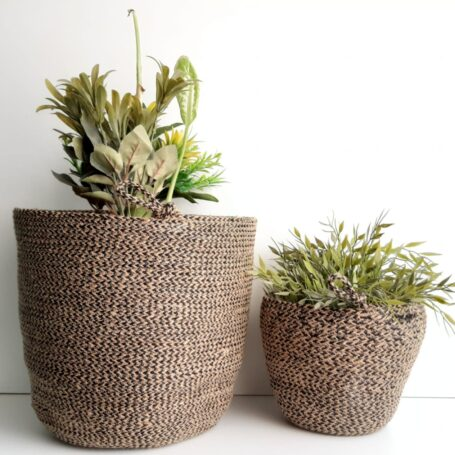 Brown Jute silk plant pot basket detailed 1