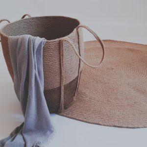 Brown cone jute basket detailed