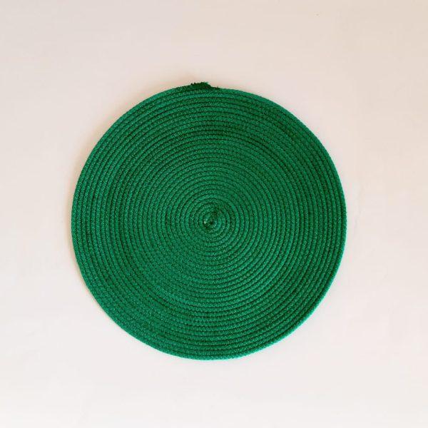 Medium green silk placemat
