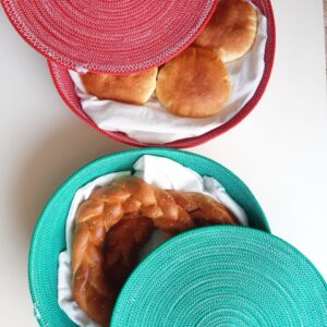 colored bread baskets with lid detailed