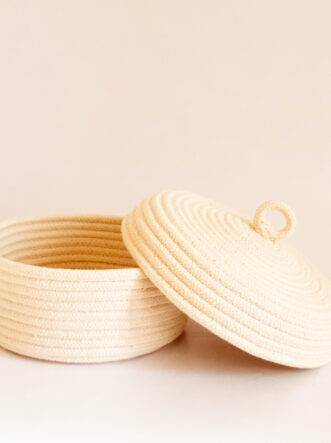 cotton bread basket with lid 1