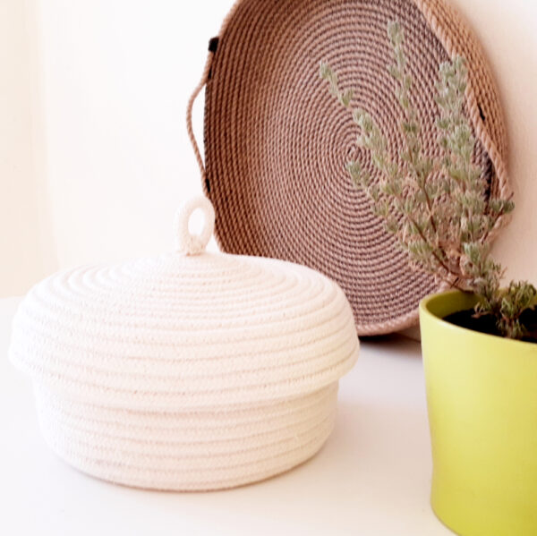 cotton bread baskets with lid detailed