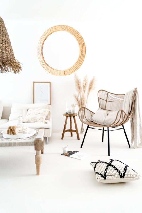 jute mirror on the wall