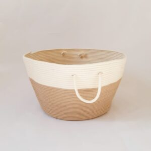 large beige cotton silk basket