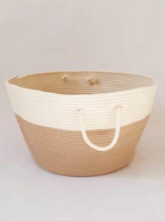 large beige cotton silk basket