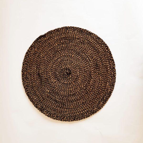large dark brown jute silk placemat coaster 1