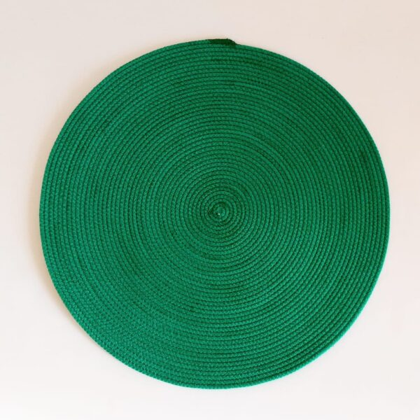 large green silk placemat