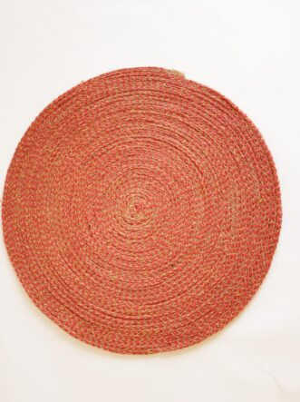 large red jute silk placemat coaster 1