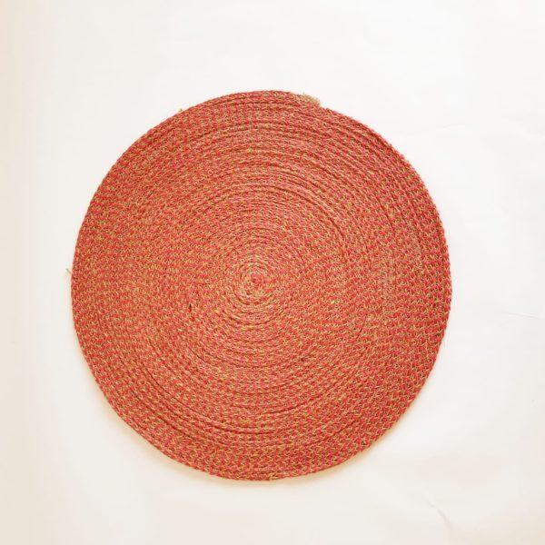 large red jute silk placemat coaster 1