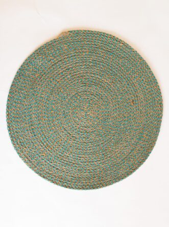 large teal jute silk placemat coaster 1