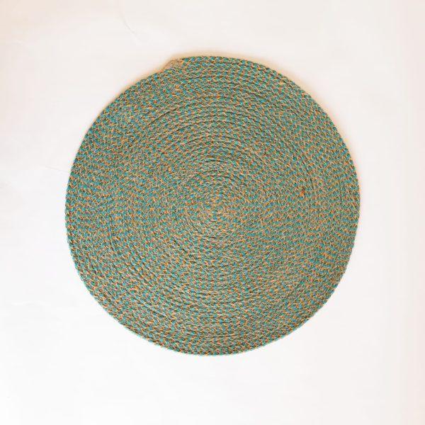 large teal jute silk placemat coaster 1