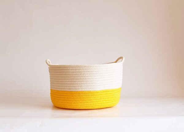 large yellow cotton silk baskets