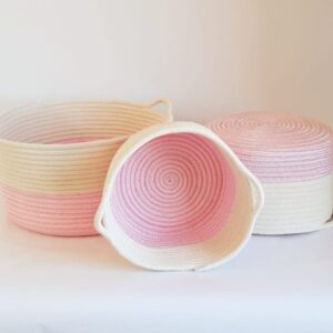 pink cotton silk rope basket