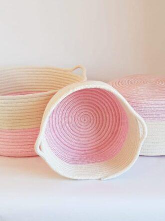pink cotton silk rope basket