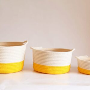 set of yellow cotton silk baskets 1