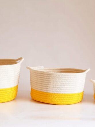 set of yellow cotton silk baskets 1
