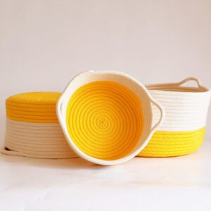 set of yellow cotton silk baskets