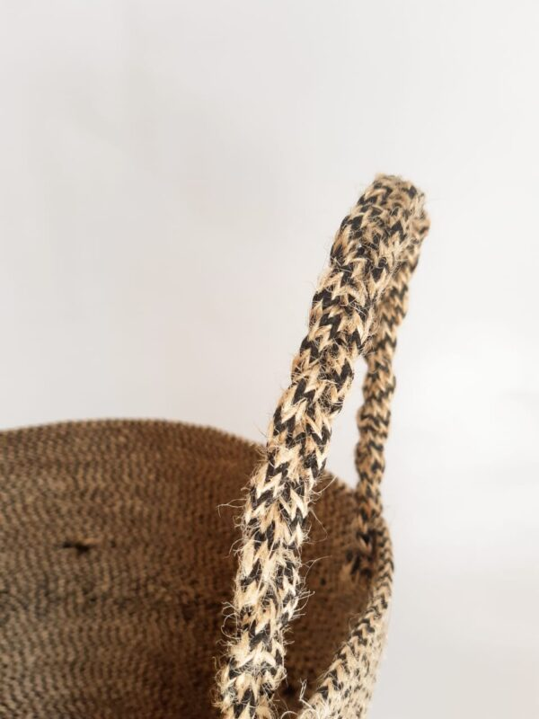 large jute basket bag detailed