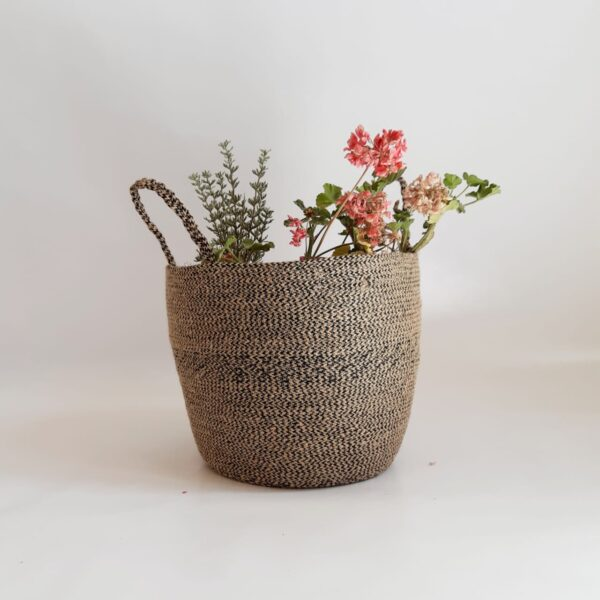 large jute basket bag pot