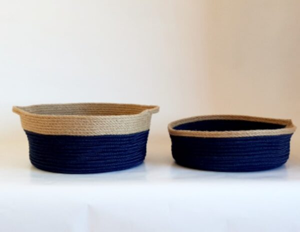 set of 2 small silk navy blue
