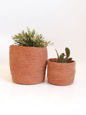2 jute silk red baskets