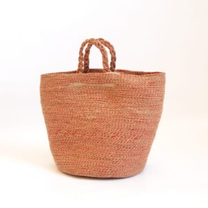 large red jute silk basket bag