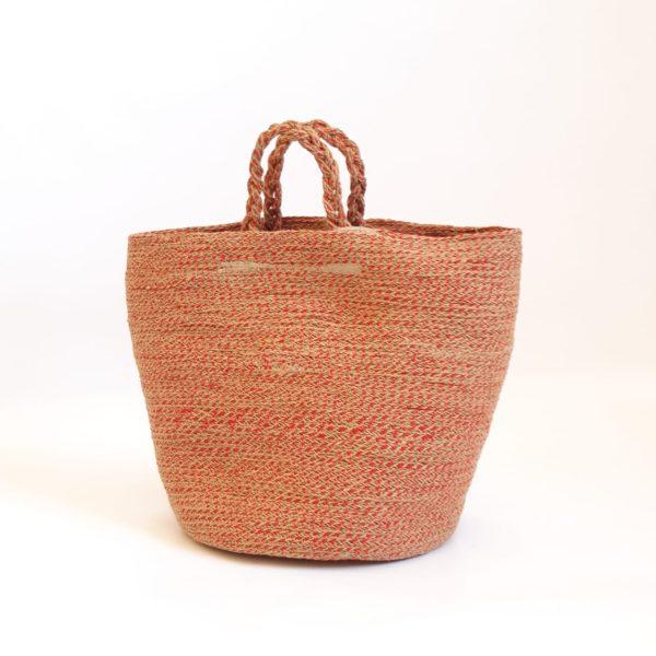 large red jute silk basket bag