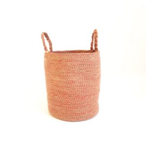 red jute silk basket bag