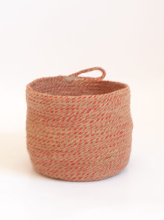 small red jute silk basket